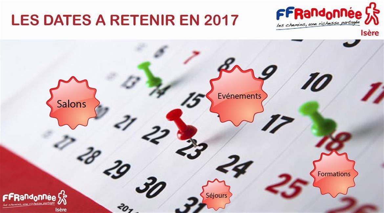 ISERE : LES DATES A RETENIR EN 2017